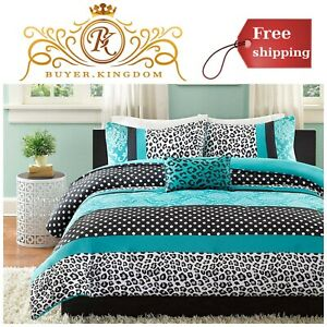 Twin Xl Full Queen King Teal Blue Black White Damask 5 Pc Comforter Set Bedding Comforters Sets