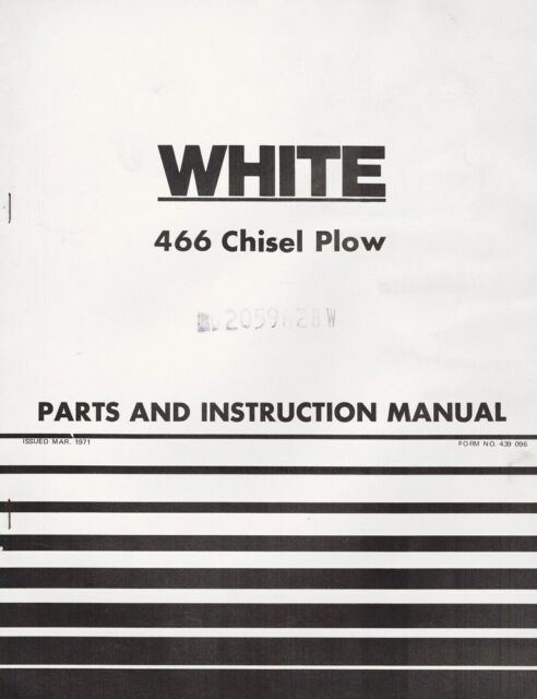 Oliver White Tractor 476 Chisel Plow Operator/'s Manual