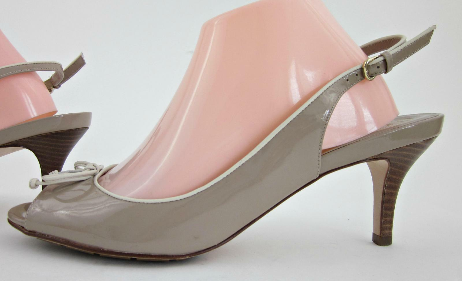 Cole Haan Air Talia Open Toe Bow Slingback Pumps Patent Taupe 10B Gorgeous