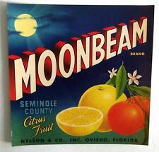 Moonbeam Brand Seminole County Citrus Crate Label Nelson & Co. Oviedo, Fl. 7 x 7