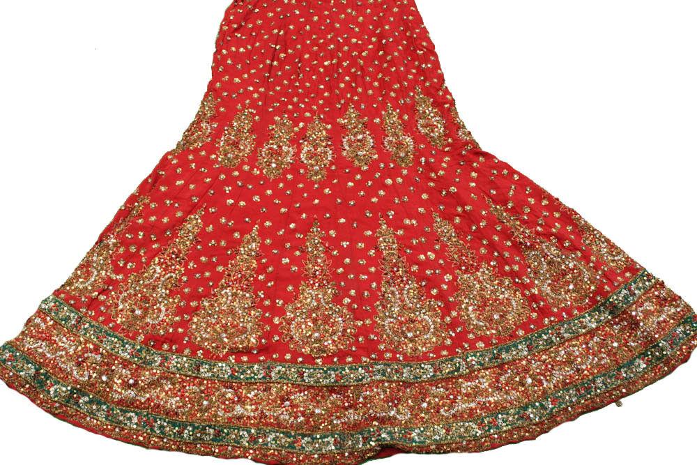 Vintage Traditional Women Wedding Lehenga Bridal Beaded Long Zari Skirt HLS1084