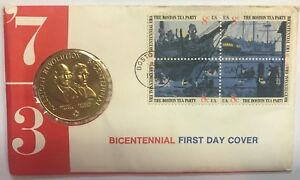 1973-BOSTON-TEA-PARTY-FIRST-DAY-COVER-amp-MEDAL-BICENTENNIAL-COVER