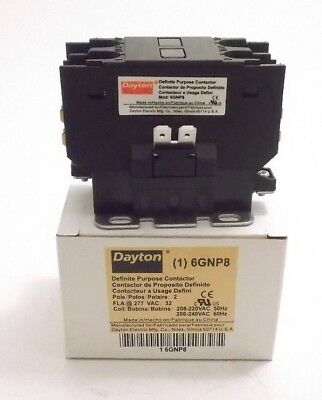 208//277 VAC Coil DAYTON 6GNP8 Contactor Prepaid Shipping - 32FLA 2 Pole