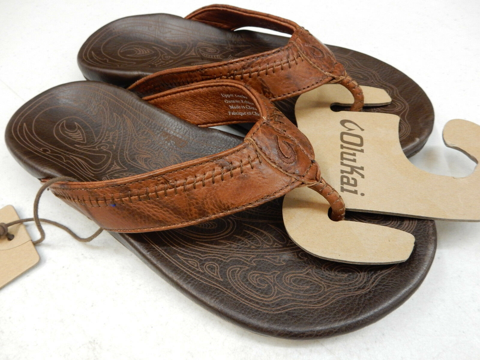 ca5952a36a9e OluKai Men s Hiapo Flip Flops Size 8 Rum Dark Java Leather 10101 for ...