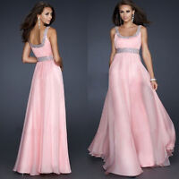 Sexy Sequins Pink Chiffon Evening Party Gown Formal Bridesmaid Cocktail Dress UK