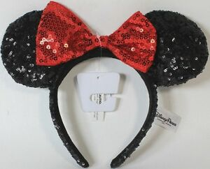 9f08d029703 NEW Disney Parks Minnie Mouse Red Black Sequin Headband - Ears ...