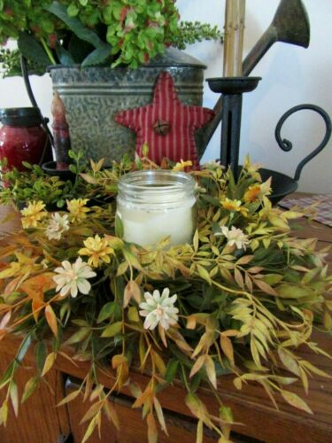 ARTIFICIAL CANDLE RING DAISY SILK FLOWERS FALL CANDLE RING FLORAL CREAM FLOWERS