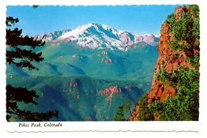 Details about Pikes Peak Colorado Postcard Snow Capped Mountain Garden of  the Gods Unposted
