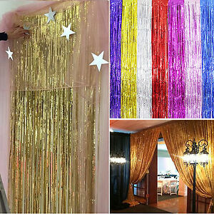 image is loading high 1 2 3m tinsel curtain foil party - Foil Christmas Door Decorations