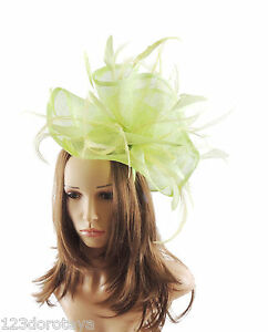 Image is loading Lime-Green-Fascinator-Hat-for-weddings-ascot-HEadband- 4217702479f