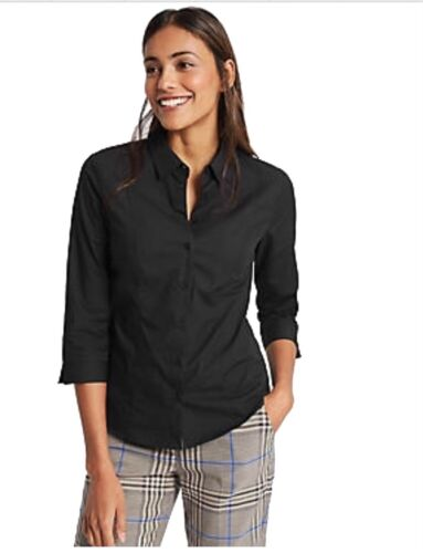 M/&S Da Donna Non Peep abbottonatura Facile Ferro da Stiro Cotone Stretch Nero SZ 12 work shirt NUOVA con etichetta