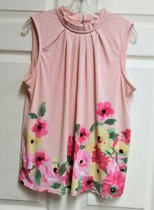 Elle-Womens-Sleeveless-Top-Blouse-Shirt-Peach-Floral-Print-Pleated-Neck-NWOT-L