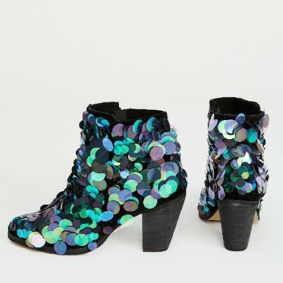 new in box Free People Out Til Dawn Sequin Ankle Heel Boot embellished Sz 38 8