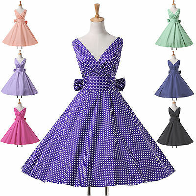 HOT ❤SALE-Cheap ❤ Vintage 50s 60s Polka Dots Housewife Evening Swing Dress
