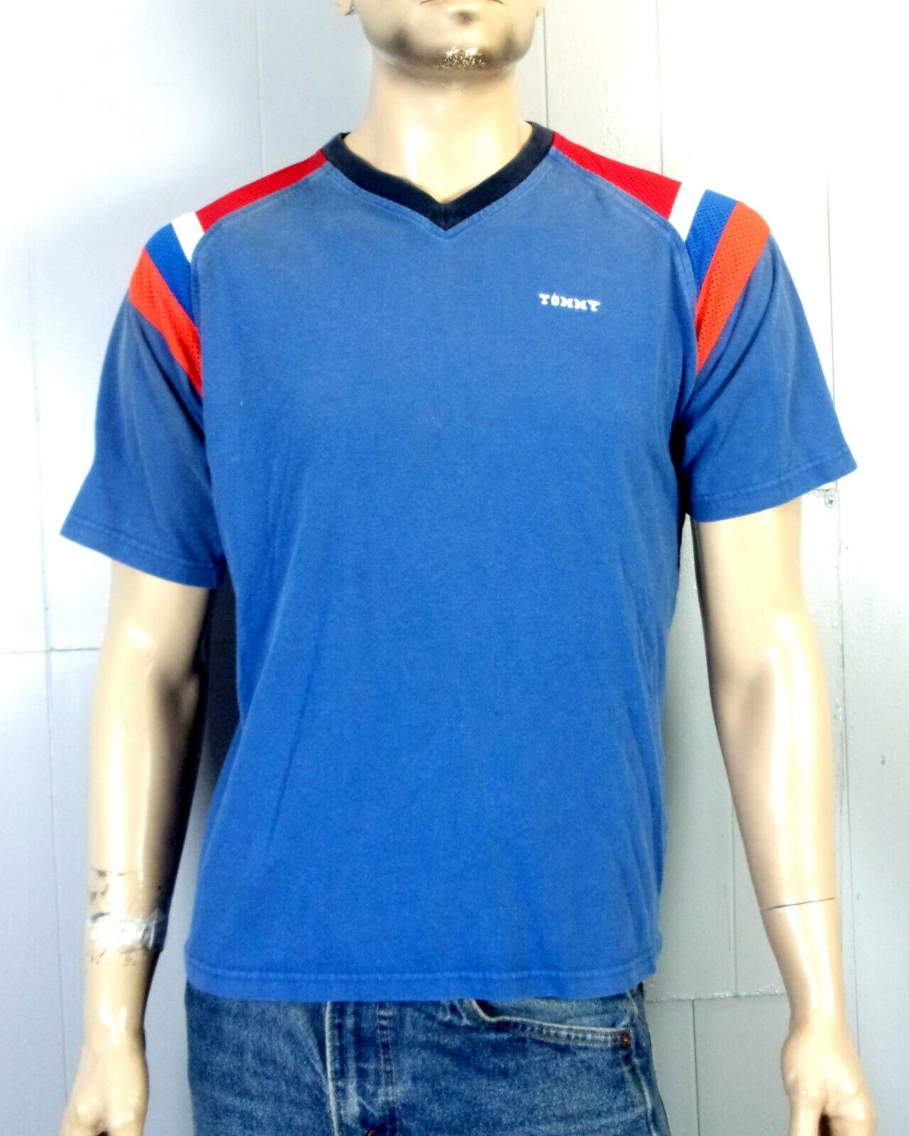 vtg 90s euc Tommy Hilfiger Spell Out Logo Mesh Striped T-Shirt sz S