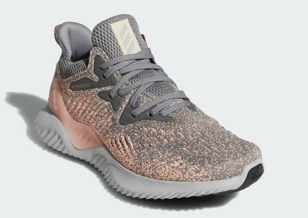 49be27d1f8ed2 Adidas Womens Alphabounce Pink And Grey Lace Up Trainers 8 ...