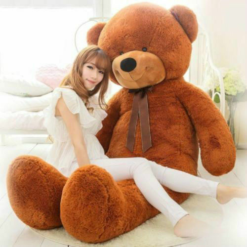 72in. Giant Big Brown Teddy Bear Plush Soft Toy Doll Pillow Stuffed Animals Gift