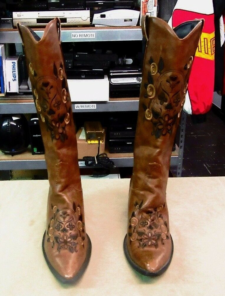 Roper Skull & Floral Embroidered Cowgirl Boot Pointed Toe 9-21-1556-0422 Sz 9.5