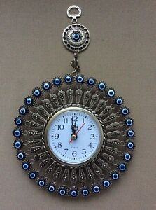 Image Is Loading Turkish Nazar Gl Evil Eye Wall Clock Hanging