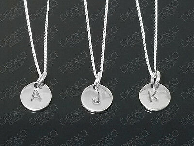 925 Sterling Silver Initial Disc Personalised Letter Monogram Alphabet Necklace