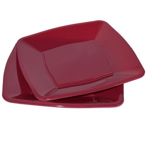 """party supplies 30 x rouge vin carré assiettes jetables plastique 9/""""//23cm"""