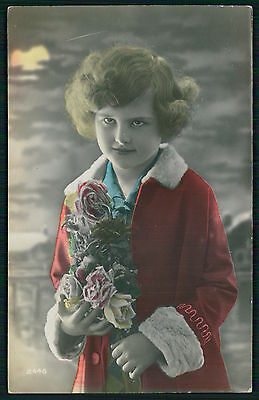 Pretty Deco Child Girl Glamour Tinted original vintage old 1920s photo postcard