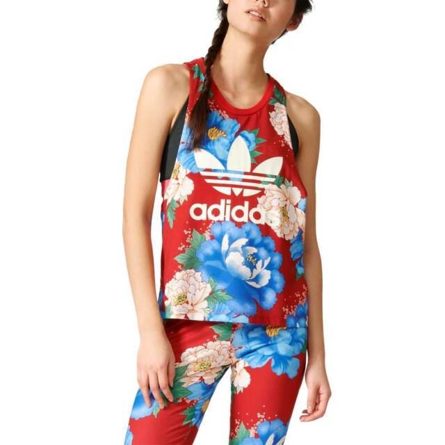 6da0284b52f adidas Originals X FARM Women's Chita Floral Print Tank Top Trefoil Logo Red