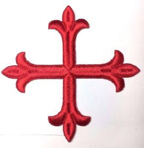 Vintage-Frances-Cruz-Fleury-Bordado-6-034-para-Coser-Luz-Rojo-Emblema-Parche-2PC