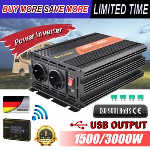 1500//3000W Spannungswandler 12V 230V Wechselrichter Inverter Remote 15m
