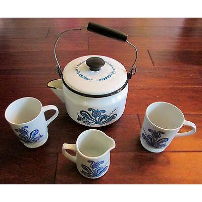 Vintage Mid Century Berggren Porcelain Enamel Blue Floral Coffee & Tea Pot Set