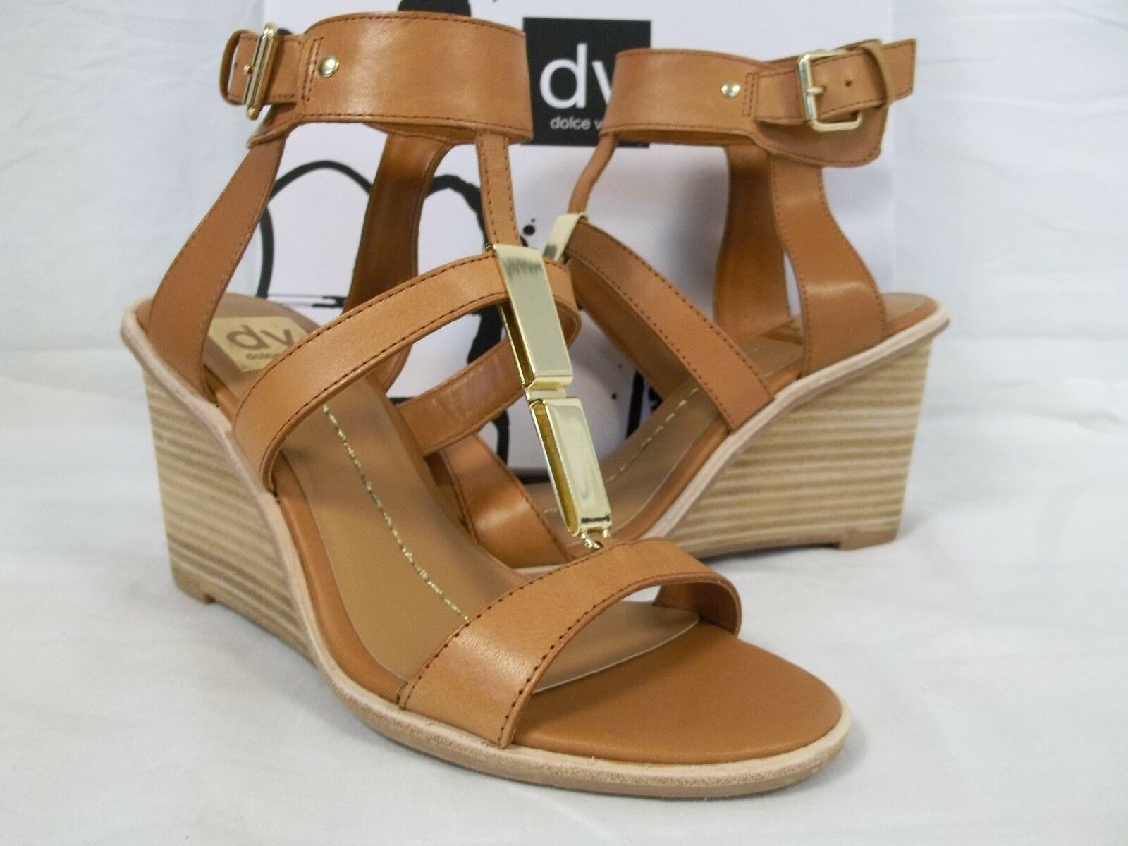 Dolce Vita Size 7 M Cecily Honey Leather Open Toe Wedges New Womens Shoes