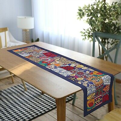 Bohemian Home Decor Table Linen Embroidered Table Runner Floral Table Runner Finnish Table Runner Vintage Table Runner
