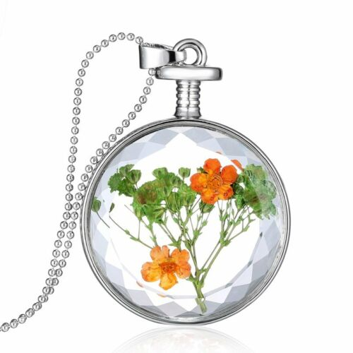 friendship gft spring wedding 24k gold plated FREE shipping Miniature round resin with natural flowers pendant