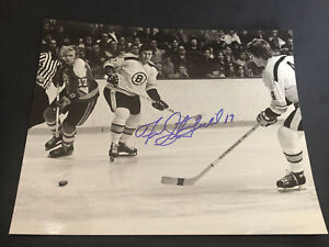 Fred Stanfield Autograph 8x10 Photo Signed BOBBY ORR BOSTON BRUINS