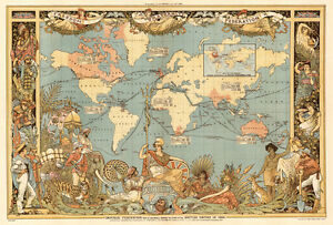 Vintage Old World Map British Empire 1800\'s CANVAS PRINT poster 24 ...