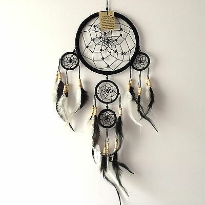 Neuf noir et plume blanche dream catcher native american hanging mobile 648