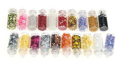 20 Bottles 3D Nail Art Glitter Rhinestone Powder Tips Decoration Manicure