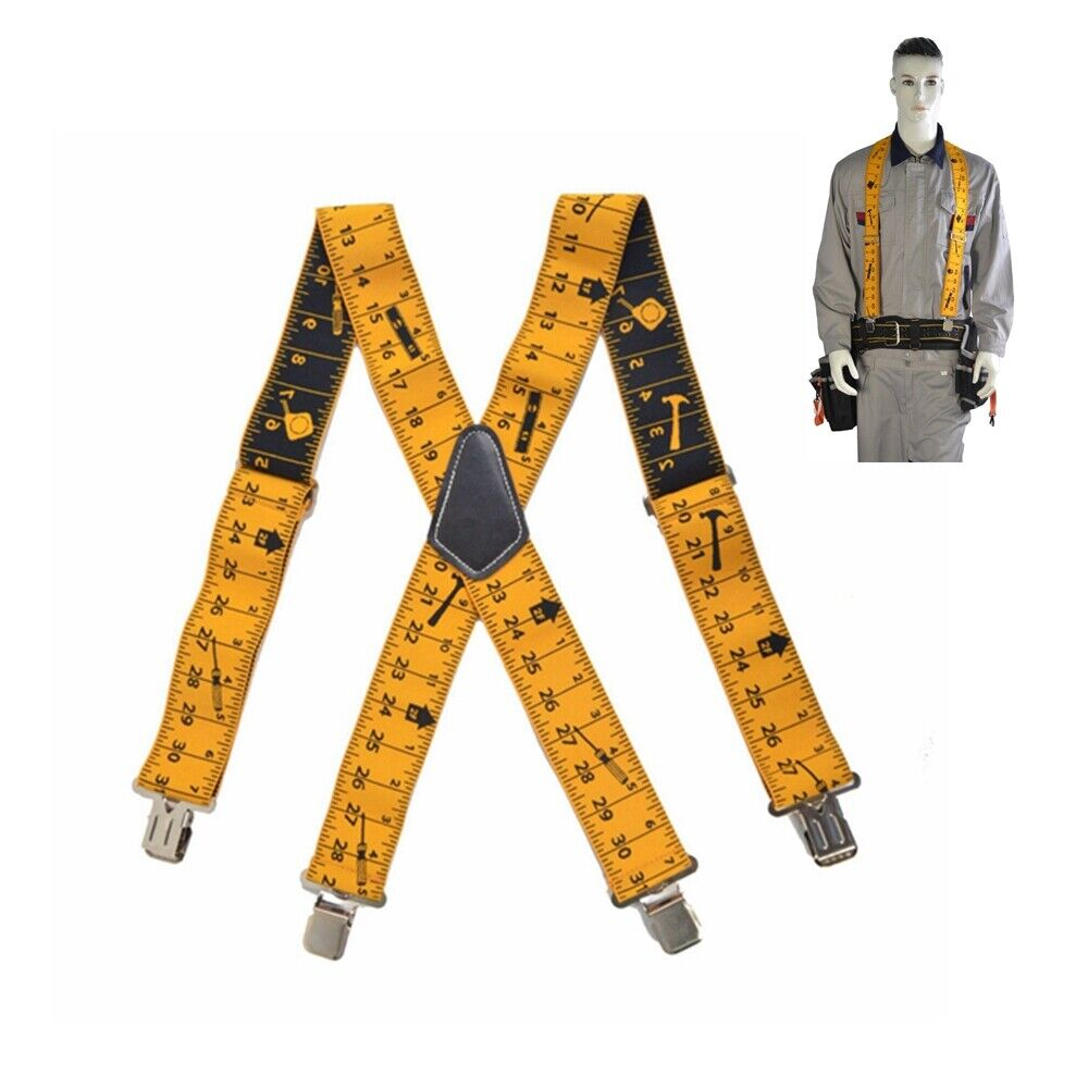 2Inch 50mm Wide Heavy Duty Men Trousers Pants Tape Measurement Braces Suspender