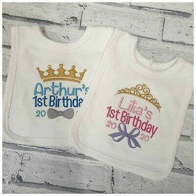 Embroidered Crown Design Baby Clothes Girls Personalised 1st Birthday Bib