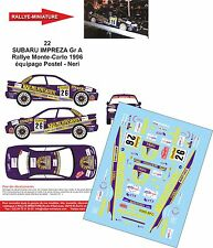 Decals 1/24 réf 22 SUBARU IMPREZA Gr A Rallye Monte-Carlo 1996 Postel