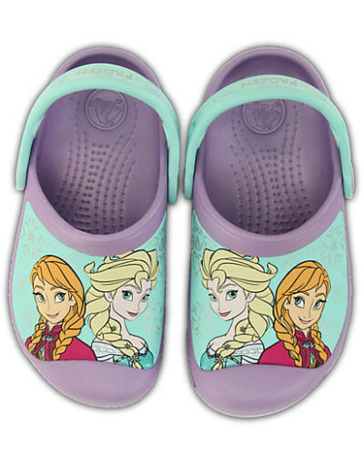 Girl/'s Childrens Anna /& Elsa FROZEN Crocs Size 4 5 6 7 8 9 10 11 Iris Purple NEW
