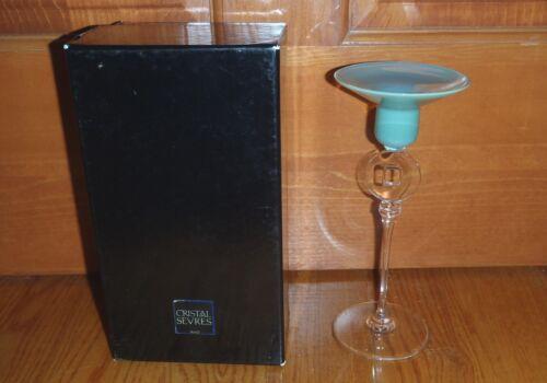 Cristal Sevres Glas Kerzenhalter Serie Rumba France signiert Glass Candleholder