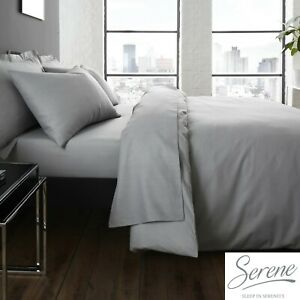 Serene-Easy-Care-Grey-Bedding-Set-Duvet-Cover-Pillowcases-Fitted-amp-Flat-Sheets