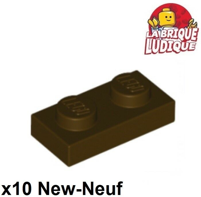 Plate 1x2 marron 10 x LEGO 3023 Plaque reddish brown NEUF NEW