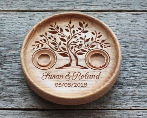 Wedding ring pillow alternative wood Wedding ring bearer holder dish box.