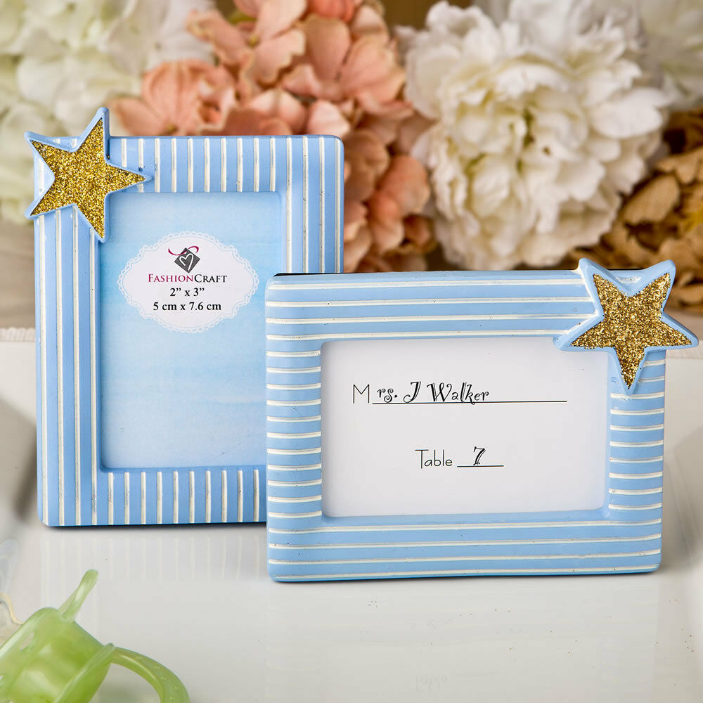 24 Blau and Gold Place Card Holder Frames Birthday Party Baby Shower Favors