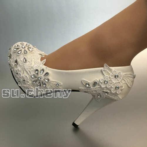 su.cheny White lace rhinestone flats//low//high heels Wedding Bridal pumps shoes