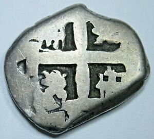 1750-039-s-Spanish-Silver-2-Reales-Antique-Two-Bit-Colonial-Cob-Pirate-Treasure-Coin