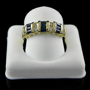 1-25Ct-Blue-Sapphire-amp-Diamond-Engagement-Wedding-Band-Ring-14K-Yellow-Gold-Over
