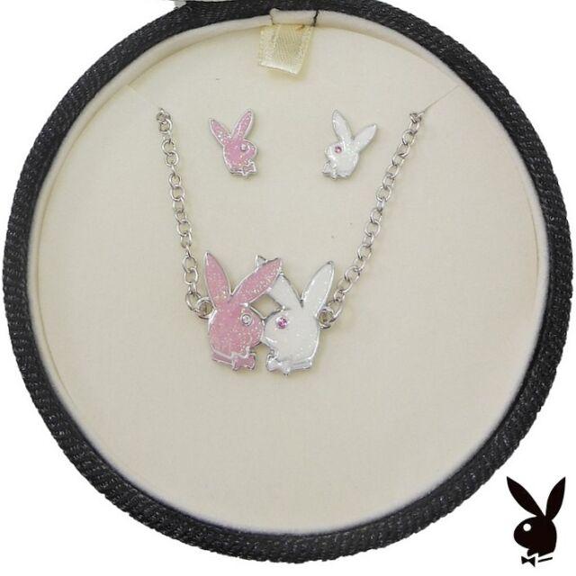 Playboy Jewelry Set Necklace Earrings Silver Pink Bunny Swarovski Crystal NEW